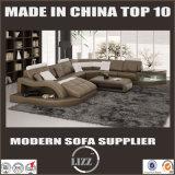 現代居間の家具の革コーナーのソファー