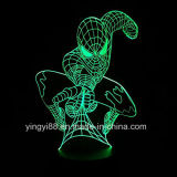 A melhor luz Multi-Colored da tabela da mudança do Spider-Man 3D dos vendedores, lâmpada Home acrílica da decoração 3D