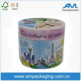 Tubo redondo laminado de papel personalizado cilíndrica caja de almacenamiento de monedas