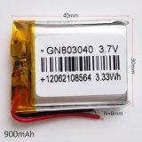 3.7V 900mAh 803040 de Navulbare Batterij van het Polymeer Li-Po voor MP3 MP4 GPS PSP van de Zak DVD PC e--Boeken Bluetooth