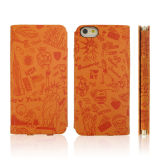 Цветастый PU Leather iPhone 6 аргументы за Sublimation Leather Phone с Grey Fabric