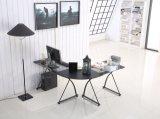 컴퓨터 연구 룸을%s 유리제 상단을%s 가진 가정 가구 L 모양 테이블