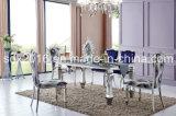 Tabela e cadeira de jantar de vidro moderna inoxidável do frame de aço do metal popular