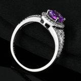Anel de pedra do aniversário da CZ da ametista oval do anel de casamento da prata esterlina