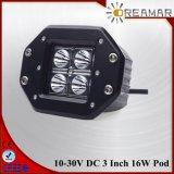 Montagem nivelada 3 farol do diodo emissor de luz do quadrado 16W do CREE da polegada