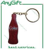 De fles Gevormde Sleutelring van het Metaal met Aangepast Embleem