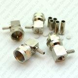 Conector masculino de ángulo recto del RF del prensado de F para el cable coaxial de Rg174 Rg316 LMR100