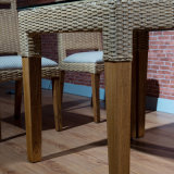 Tabella pranzante A02-7 di vetro Tempered di legno solido