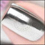 クロムミラーの効果の銀のマニキュアは粉に彩色する