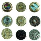 Green Rhinestone Fancy Designs Metal Buttons