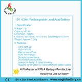 12V 4.2ah nachladbare AGM-Leitungskabel-Säure-Batterie für UPS
