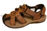 Sandália ocasional do couro Handmade do homem de TPR Outsole