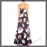 Senhoras, comprimento cheio, Charmuse tecido, olá! baixo vestido de partido da noite com projeto floral da impressão