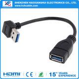 Rechtwinkliger 90 Grad-Extensions-Kabel-Mann USB-3.0 zum weiblichen Adapter