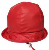 ChildrenのためのStrapの星のSolid Red PU Rain Hat