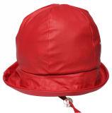 PU Rain Hat de Solid Red de la estrella con Strap para Children