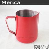 Leche roja del arte de Latte del acero inoxidable que espumejea la jarra