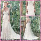 Lace Tulle Bridal Formal Gowns A-Line Sexy Beads Wedding Dress S201763