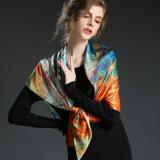 Multicolor напечатанная шаль 100 * 100 Cm шарфа Silk лошади сатинировки большая квадратная