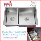 ステンレス鋼のハンドメイドの流しは、手作りする流し、台所の流し、洗浄流し(HMRD3319R)を