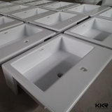キャビネット(160929)が付いている現代固体表面の樹脂の浴室の洗面器