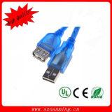 USB trasparente dell'azzurro 2.0 un maschio al cavo femminile del USB