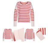 Il colore rosso barra il maglione del cachemire lavorato a maglia donne