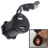 Многофункциональные 12-24V 4.2A удваивают заряжатель телефона USB Port с вольтметром СИД для автомобилей, мотоциклов, ATV, RV, SUV, шлюпки