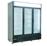 Supermarkt-dreifache Scharnier-Tür-Getränkeschaukasten-Kühlvorrichtung