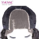 Парик шнурка человеческих волос способа естественный черный перуанский