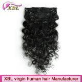 Зажим в выдвижении волос зажима человеческих волос девственницы волос бразильском