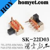 Micro interruptor de MERGULHO/interruptor de corrediça com embalagem do metal (SK-22D03)