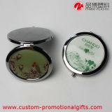 Miroir matériel de renivellement de contrat de poche de forme ronde en métal