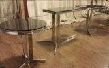 ガラス上が付いているステンレス鋼の側面の茶端のコーヒーテーブル