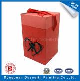 Rectángulo de empaquetado impreso del regalo de papel del color rojo con la cinta