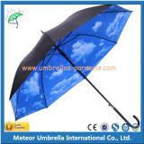 Céu nebuloso de Customed que reveste o guarda-chuva de Sun automático reto
