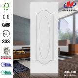 Piel moldeada blanca de la puerta de la pintura de fondo del grano de madera interior
