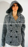 WomenまたはLadyのための冬Warm Long Pattern Knitting Outwear Over Coat