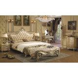 Sofà di cuoio di legno per la mobilia del salone (533)