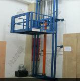 Tabela de elevador vertical hidráulica fixada na parede da carga do armazém do trilho