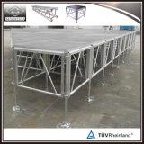 Estágio portátil ao ar livre da plataforma de madeira de alumínio