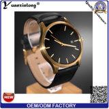 La nueva alineada de la voga de señora reloj de la manera del diseño Yxl-479 2016 mira el reloj de los hombres de acero promocionales del cuero genuino de la buena calidad