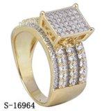 De echte Zilveren Amerikaanse 14k Geplateerde Ringen van het Zirkoon