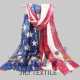 Sciarpa americana distintiva della stampa del reticolo della bandierina di nazione basata su voile