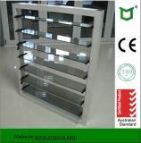 Économiseur de salles de bains en aluminium avec volets en verre