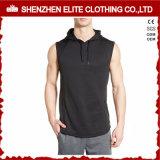 Il muscolo nero adatto chiude con chiusura a lampo in su la maglia Sleeveless di Hoodie di ginnastica (ELTHSJ-1078)