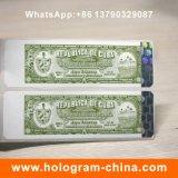 Etiqueta holográfica de papel carimbada quente feita sob encomenda