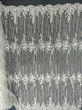 ウェディングドレス04のための白く一義的なハンドメイドのレースを離れた刺繍