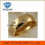 De comfortabele Ring van het Titanium van CZ van het Roestvrij staal van Juwelen 18k Goud Geplateerde