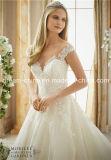 肩の帽子を離れて顧客用スリーブを付ける床の長さのウェディングドレスの婚礼衣裳(夢100089)に